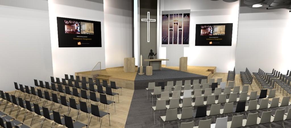Voorlopig ontwerp interieur kerkzaal